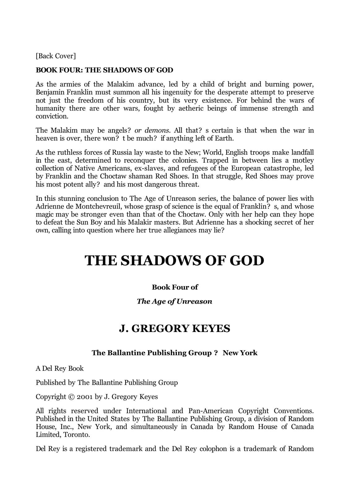 Книга: The Shadows of God