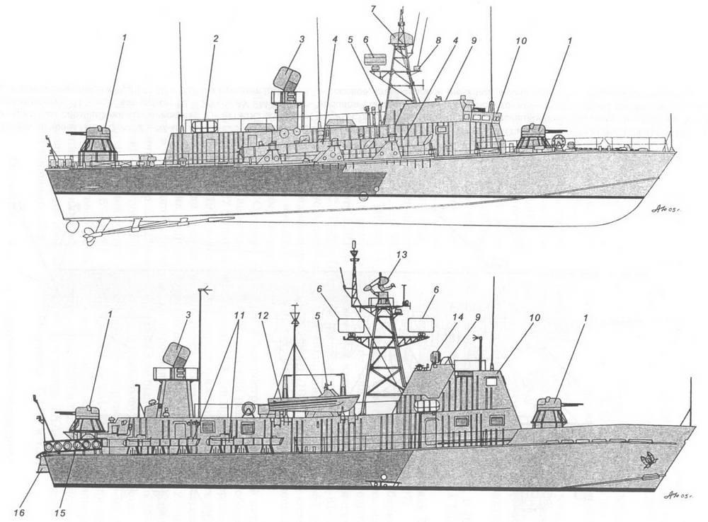 16 — 127-мм пулемет ДШК-М;