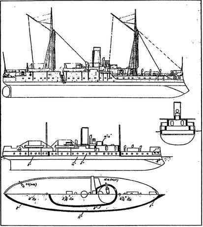 Броненосец «Хотспур» и схема