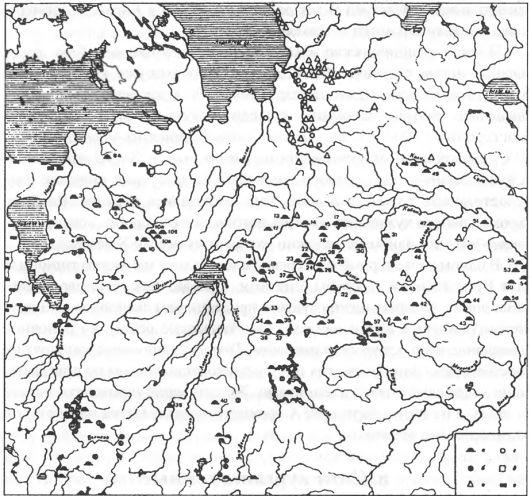 Карта 14. Курганы IX-Х вв.