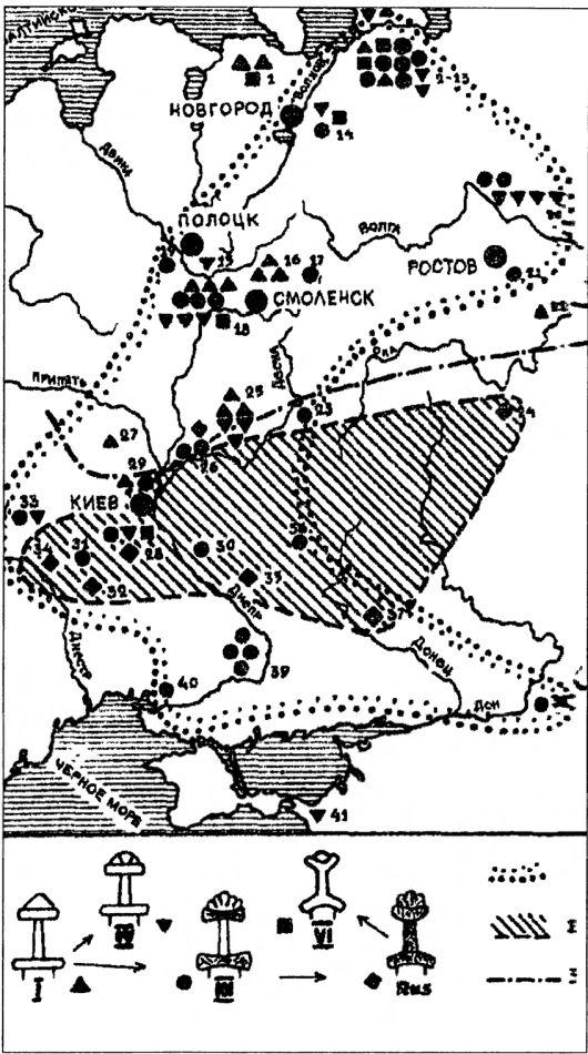 Карта находок мечей пяти типов. «