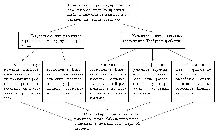 Схема видов торможения