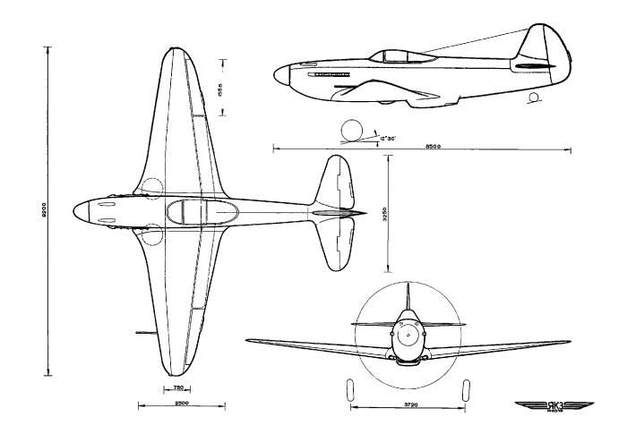 Схема самолета Як-3