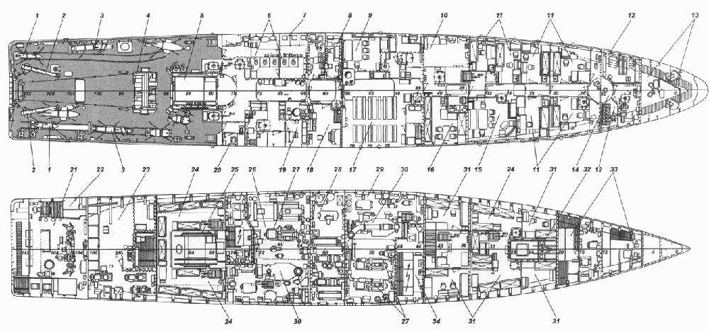 План верхней палубы (вверху) и