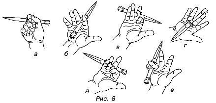 перехват и вращение ножа