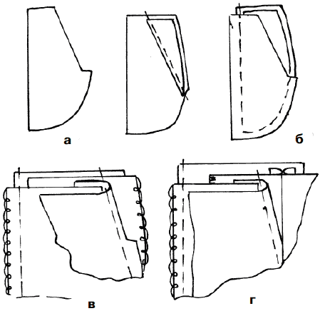 Обработка бокового кармана юбки