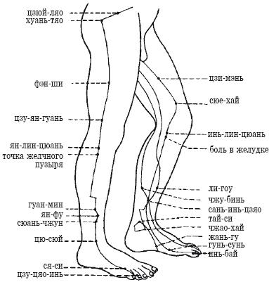 Схема точек ноги (сбоку)