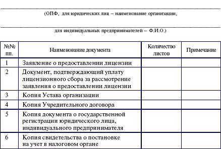 Опись Представленных Документов образец