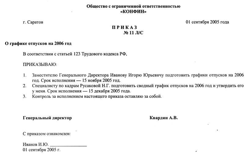 образец приказа об увольнении украина