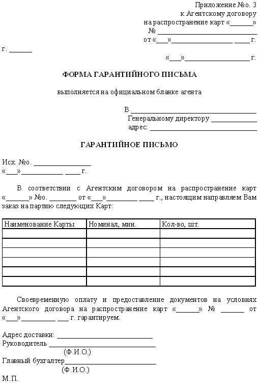 Гарантийное Письмо об Оплате Услуг Связи образец
