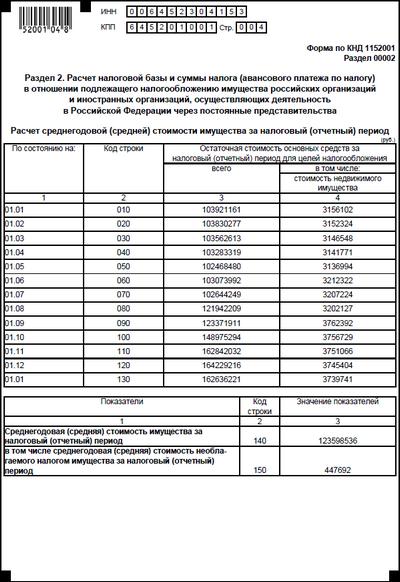 образец заполнения декларации по налогу на имущество
