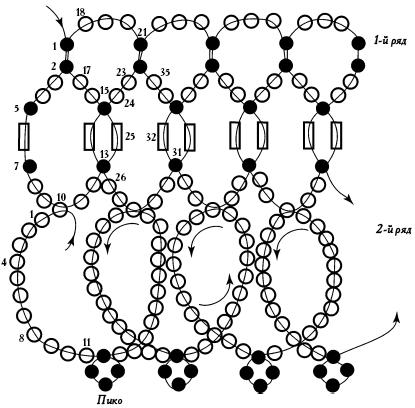 Схема ожерелья с подвесками