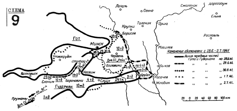 Командный пункт танковой группы 28 июня был переведен в Несвиж, в замок кня