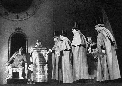 «Дракон». Сцена из спектакля. Театр комедии. Ленинград. 1962 год