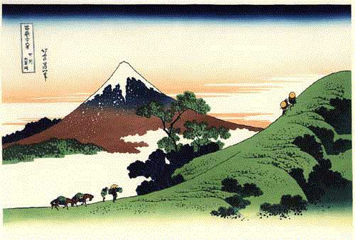 Mount Fuji in woodcuts by Hokusai