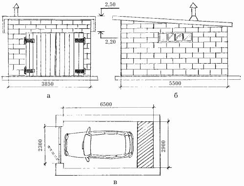 Кирпичный гараж: а – общий вид