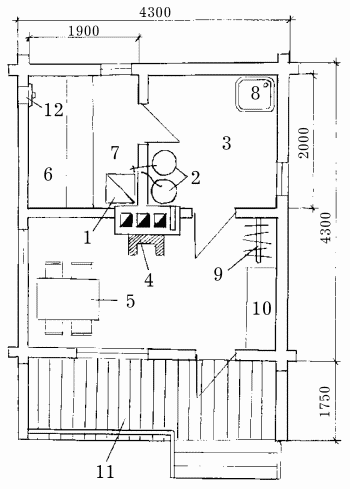 Схема бани площадью 14,8 м2: 1