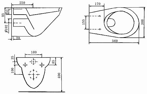 Схема консольного унитаза
