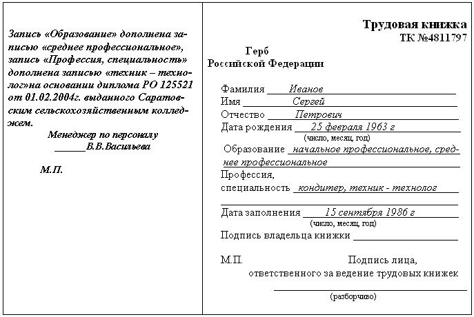 Порядок внесения изменений в записи на титульном листе