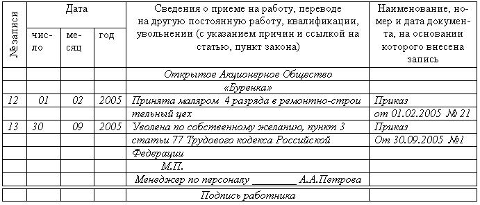 образец в трудовой книжке перевода с временной работы на постоянную