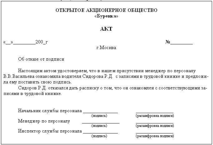 Рис.28 Образец акта об отказе