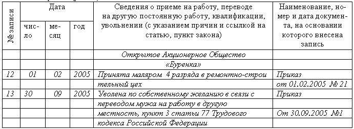 запись в трудовую о грамоте образец