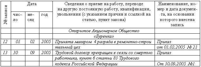 расписка получение трудовой книжки образец