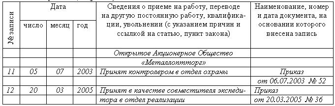 запись в трудовой книжке об увольнении внешнего совместителя образец - фото 6