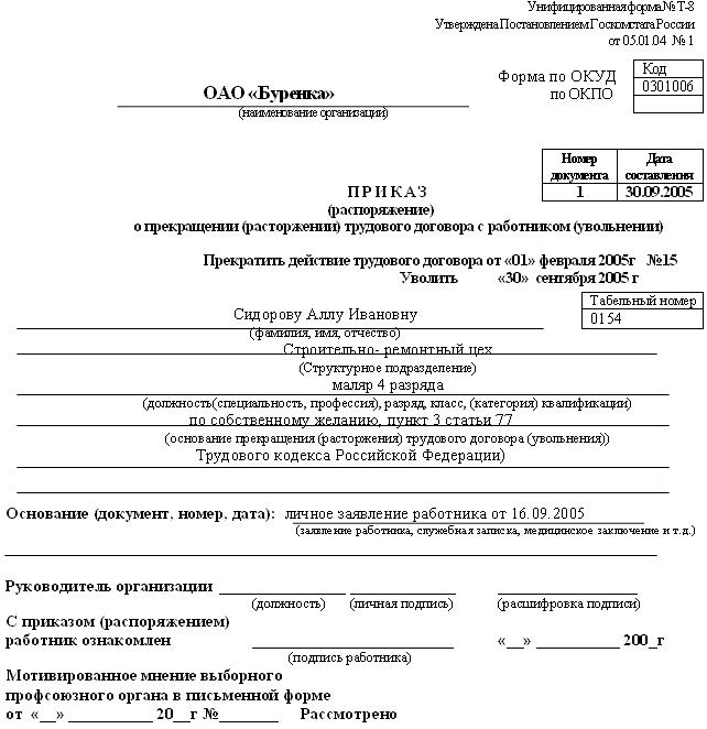 Договор Расторжения Образец