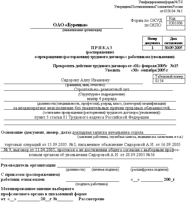 приказ об нарушении должностных обязанностей образец