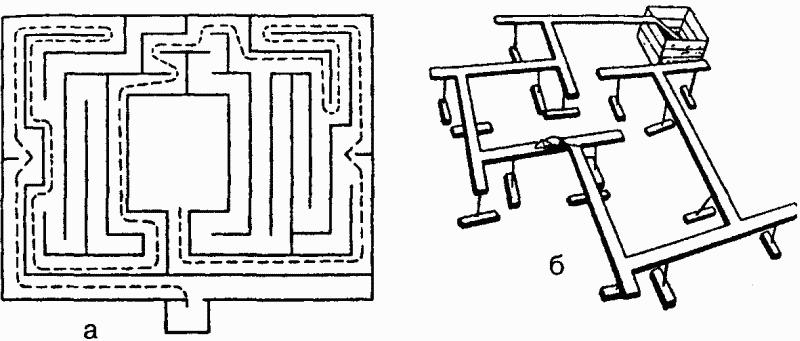 Лабиринты: а — план первого