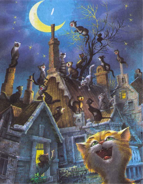 Коты на крышах рисунки