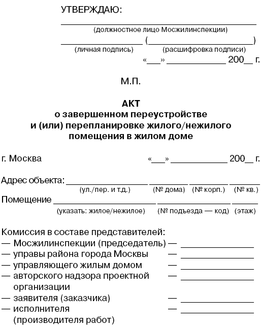 образец акта выполнения предписания